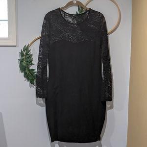 H&M Black Lace Long Sleeve Low Back Bodycon Dress